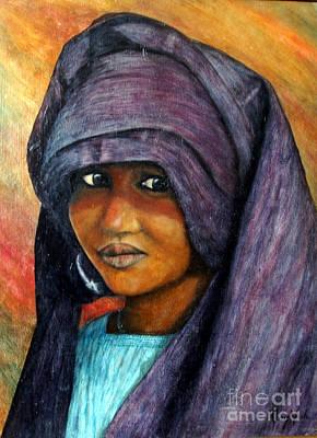Gold Earrings Painting - Indigo Girl by Joey Nash