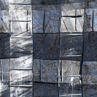 Geometry Mixed Media - Indigo Squares 3 Of 5 by Carol Leigh
