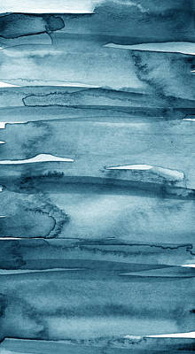 Blue Abstracts Mixed Media - Indigo Water- Abstract Painting by Linda Woods