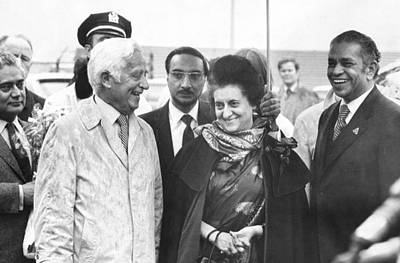 Indira Gandhi At Jfk Airport Art Print by Underwood Archives