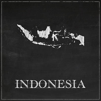 Vintage Map Digital Art - Indonesia Chalk Map by Finlay McNevin