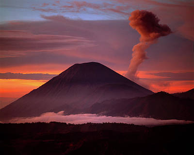 Mountain Photograph - Indonesia Mt Semeru Emits A Plume by Jaynes Gallery