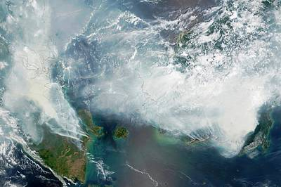 Earth Burned Photograph - Indonesian Forest Fires by Nasa Earth Observatory/lance Modis Rapid Response