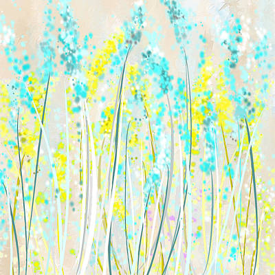 Brilliant Sky Painting - Indoor Spring- Yellow And Teal Art by Lourry Legarde