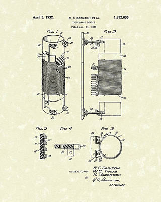 Drawing - Inductor 1932 Patent Art by Prior Art Design