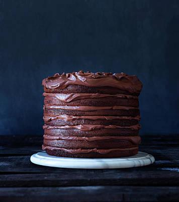 Photograph - Indulgent Layered Chocolate Cake by Annabelle Breakey