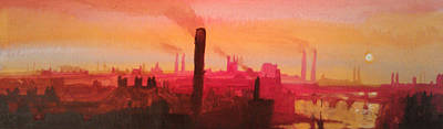 Industrial City Skyline 2 Art Print by Paul Mitchell