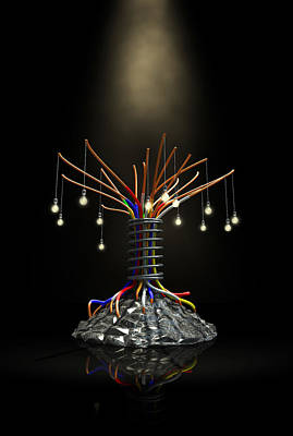 Industrial Future Tree Art Print by Allan Swart