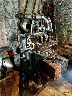 Gear Photograph - Industrial Gear Cutting Machine by Susan Savad