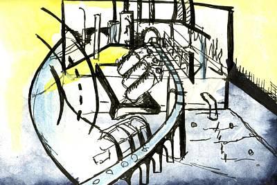 Circuit Board Drawing - Industrial Landscape by Seb Mcnulty