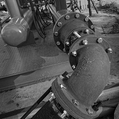 Photograph - Industrial Pipe Black And White - Photography by Ann Powell