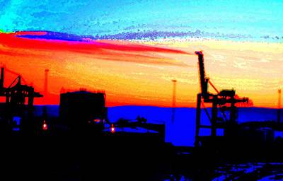 admire an Industrial sunset, because culture is also nature  Print by Hilde Widerberg