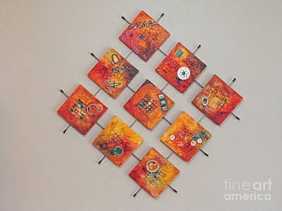 Mixed Media - Industrialized Squares by Phyllis Howard