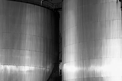 Industry Fuel Tanks At Sunset Art Print