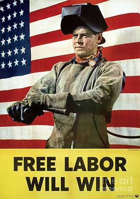 Us Propaganda Photograph - Industry Labour Poster, World War II by Hagley Archive