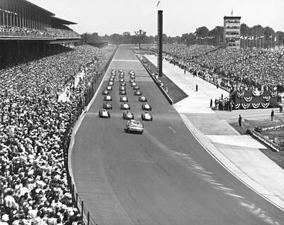 Spectators Photograph - Indy 500 Parade Lap by Underwood Archives