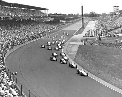 1960 Photograph - Indy 500 Race Start by Underwood Archives