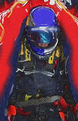 Painting - Indy Car Pilot by Dennis Buckman