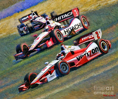 Indy Car's Penske Team Juan Montoya Helio Castroneves Will Power   Art Print by Blake Richards