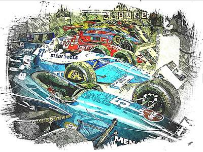 Indy Car Mixed Media - Indy Race Car Line Up by Spencer McKain