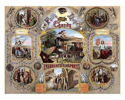 Historian Mixed Media - Inebriate Express Vintage Temperance Poster by War Is Hell Store