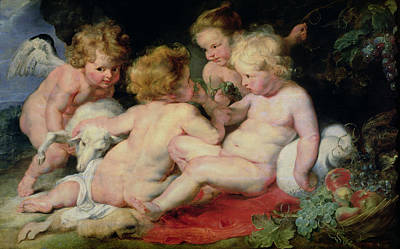 Cherub Painting - Infant Christ With John The Baptist And Two Angels by Peter Paul Rubens