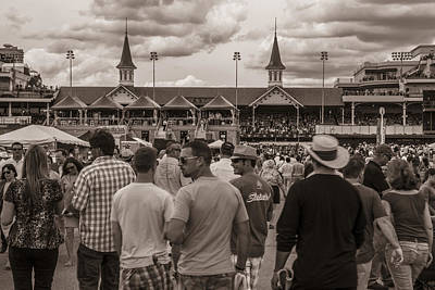 Infield At Churchill Downs Black And White Art Print
