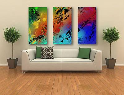 Black Top Digital Art - Infinite M Triptych Sample by Ryan Burton