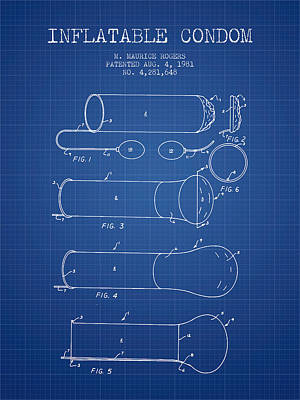 Sex Digital Art - Inflatable Condom Patent From 1981 - Blueprint by Aged Pixel
