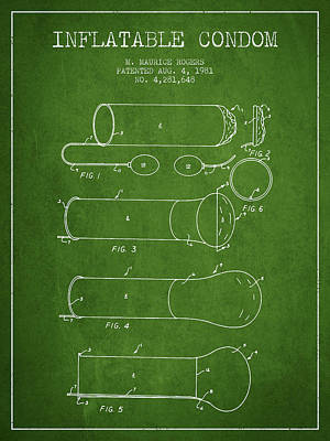 Hiv Digital Art - Inflatable Condom Patent From 1981 - Green by Aged Pixel