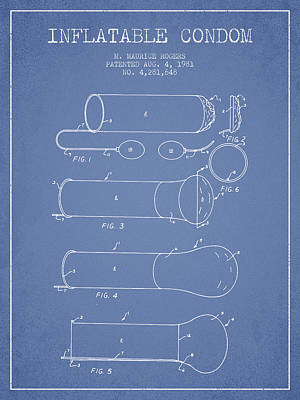 Hiv Digital Art - Inflatable Condom Patent From 1981 - Light Blue by Aged Pixel