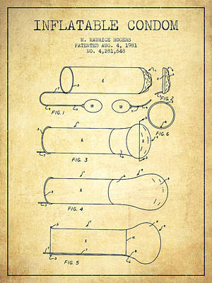 Hiv Digital Art - Inflatable Condom Patent From 1981 - Vintage by Aged Pixel