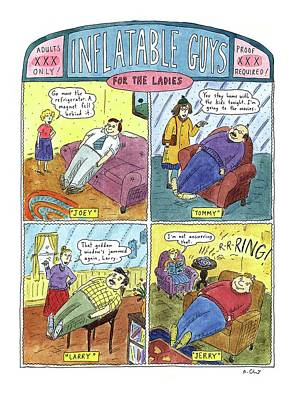 Inflatable Guys For The Ladies Art Print by Roz Chast