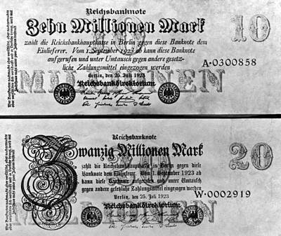 Exchange Rate Photograph - Inflated German Mark Bills by Underwood Archives