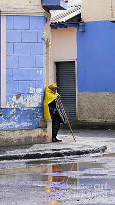Information Man In Penipe Ecuador Art Print by Al Bourassa