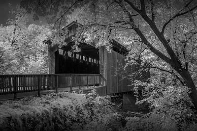 Photograph - Infrared Black And White Photograph Of The Covered Bridge On The Thornapple River In Ada by Randall Nyhof
