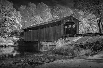 Infrared Black And White Photograph Of The Fallasburg Covered Bridge Art Print by Randall Nyhof