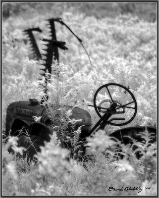 Infrared Bw Old Farm Tractor 8  Print by David Blatchley