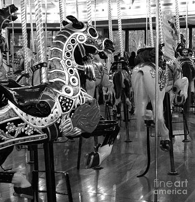 Photograph - Black And White Carousel Horses by Jani Freimann