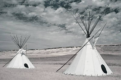 Infrared Image Of Native American Tipis Art Print by Roberta Murray