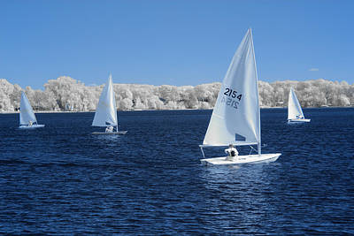 Photograph - Infrared Photograph Of Sailboats On Reeds Lake by Randall Nyhof
