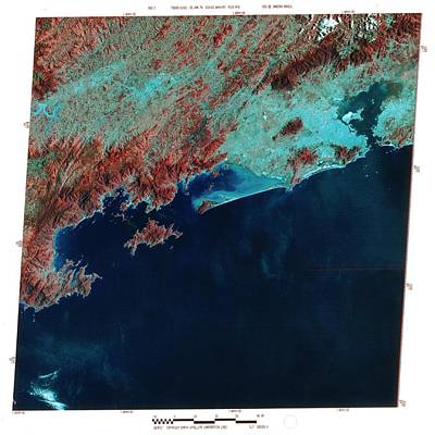 Infrared Satellite Image Of Rio De Janeiro Art Print by Mda Information Systems/science Photo Library