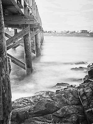 Infrared View Of Stormy Waves At Stramsky Wharf Art Print by Jeff Folger