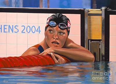 Swimming Painting - Inge De Bruijn by Paul Meijering