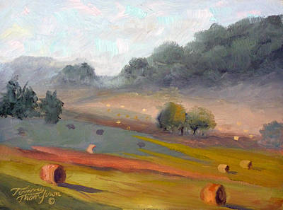Leipers Fork Painting - Ingram Haybales by Tommy Thompson