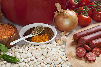 Ingredients For Spanish Chorizo Soup Art Print