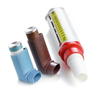 Puffer Photograph - Inhalers by Science Photo Library