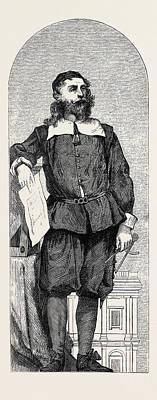 Mosaic Portrait Drawing - Inigo Jones, Mosaic Portraits In The South Kensington by English School