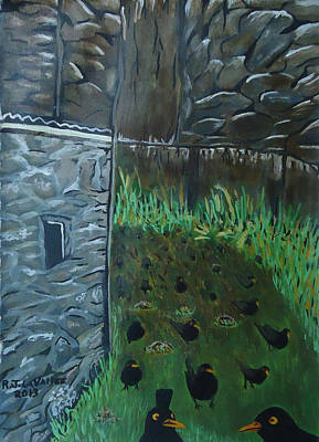 Painting - Inis Meain 18 Blackbirds by Roland LaVallee