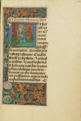 Prayer Drawing - Initial A Saint Adrian Master Of The Dresden Prayer Book Or by Litz Collection